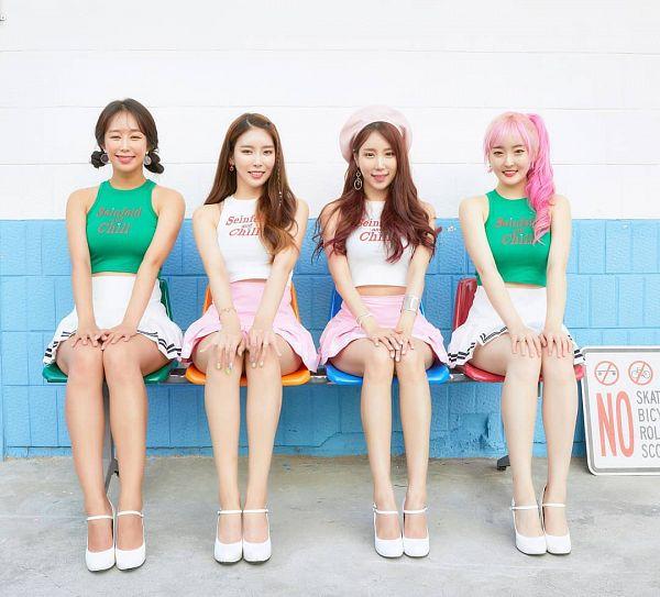 Tags: K-Pop, ICIA, Nayoon, Vandi, Youmin (ICIA), Kim Hyogyeong, Skirt, Hand On Knee, Full Group, Sleeveless, Quartet, White Skirt