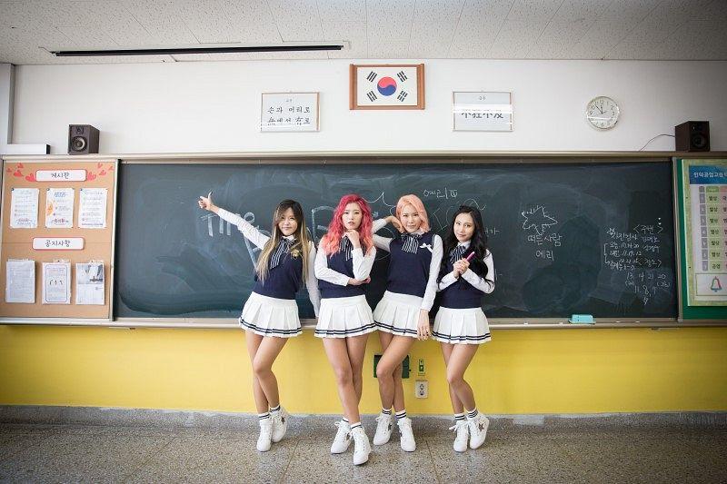 Tags: K-Pop, ICIA, Lee Ae, Seona, Kim Hyunah, Swan, White Legwear, Four Girls, Flag, Country Flag, White Skirt, Full Body