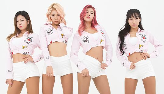 Tags: K-Pop, ICIA, Swan (Angels), Kim Hyeona, Lee Ae, Seona, Shorts, Midriff, Red Hair, Quartet, Crop Top, Serious