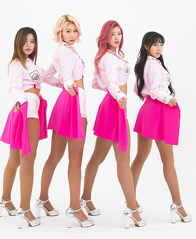 Tags: K-Pop, ICIA, Seona, Swan (Angels), Kim Hyeona, Lee Ae, Four Girls, Pink Hair, High Heels, Light Background, White Background, Serious