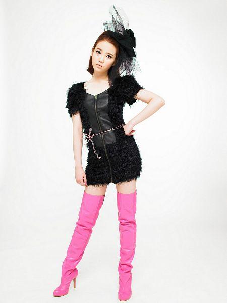 Tags: K-Pop, IU, Boots, Pink Footwear, White Background, High Heeled Boots, Black Dress, High Heels, Knee Boots, Light Background, IU...IM