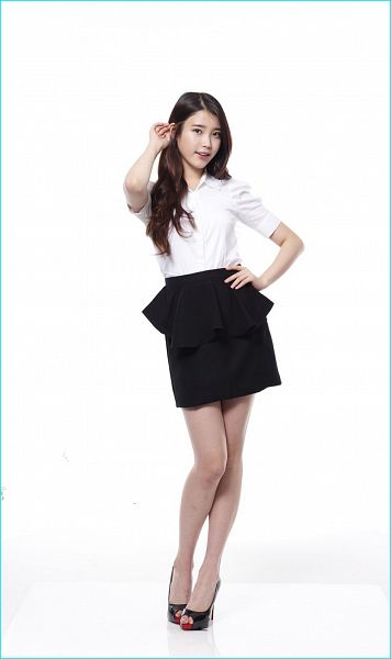 Tags: K-Pop, IU, Black Footwear, White Background, Hand On Hip, High Heels, Black Skirt, Skirt, Light Background, 11st