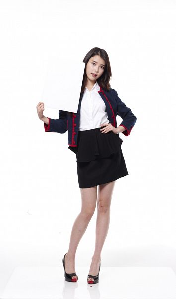 Tags: K-Pop, IU, Black Skirt, Skirt, Light Background, Blue Jacket, White Background, Hand On Hip, High Heels, Blue Outerwear, 11st