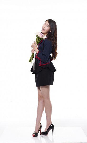 Tags: K-Pop, IU, Black Skirt, Flower, Light Background, Blue Jacket, White Background, High Heels, Skirt, Blue Outerwear, 11st