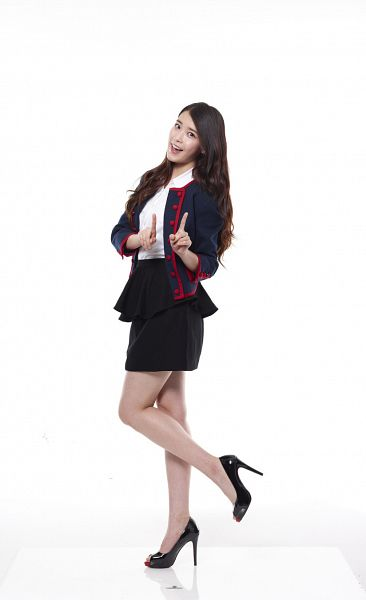 Tags: K-Pop, IU, High Heels, Skirt, Leg Up, Black Skirt, Standing On One Leg, Light Background, Blue Jacket, White Background, Blue Outerwear, 11st