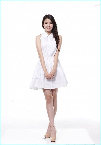 Tags: K-Pop, IU, Light Background, Braids, White Background, Brown Footwear, White Dress, Bare Shoulders, Sleeveless, Single Braid, White Outfit, Crossed Legs (Standing)
