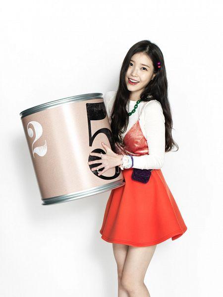 Tags: K-Pop, IU, Red Lips, Necklace, Orange Outfit, Light Background, Orange Dress, White Background, Chamisul