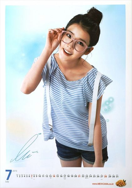 Tags: K-Pop, IU, Shorts, Suspenders, Striped Shirt, Hair Buns, Single Bun, Hair Up, Glasses, Striped, Calendar, Android/iPhone Wallpaper