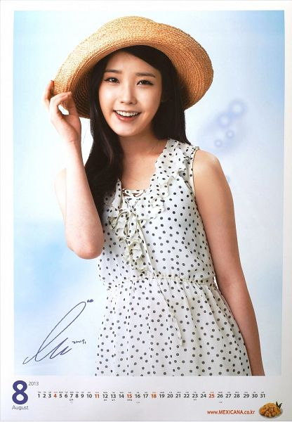 Tags: K-Pop, IU, Hat, Spotted, Spotted Dress, Bare Shoulders, Sleeveless, Sleeveless Dress, Mexicana Chicken, Calendar, Android/iPhone Wallpaper