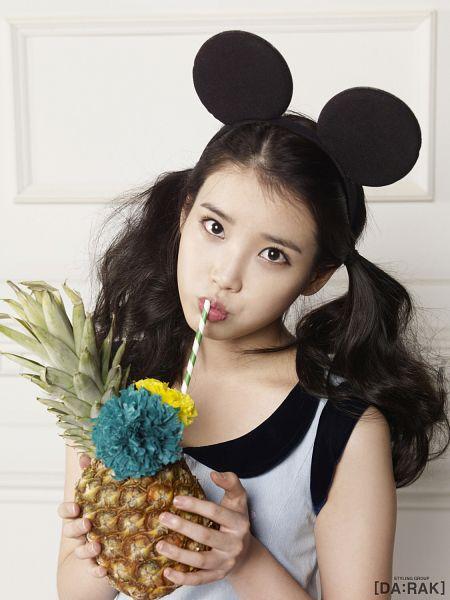Tags: K-Pop, IU, Drinking, Animal Ears, Twin Tails, Drinks, Pineapple, Fruits, Android/iPhone Wallpaper, IU 2012 Calendar