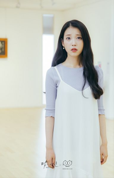 Tags: K-Pop, K-Drama, IU, White Dress, Blue Shirt, Jewelry, Earrings, White Outfit, Dress, Standing, Mobile Wallpaper, Moon Lovers: Scarlet Heart Ryeo