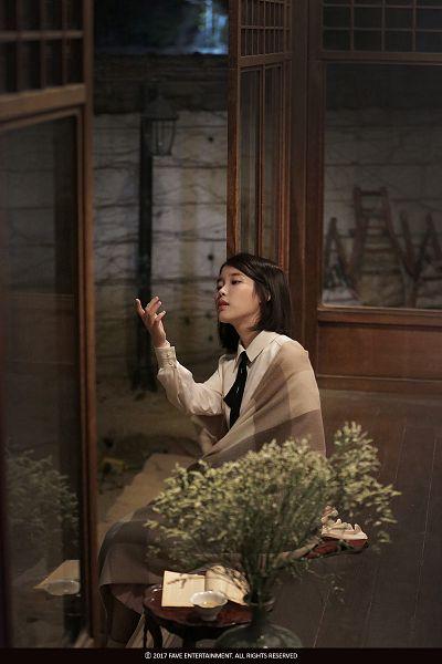 Tags: K-Pop, Through the Night, IU, Short Hair, Window, Flower, Tray, Bent Knees, Night, Sitting, Palette