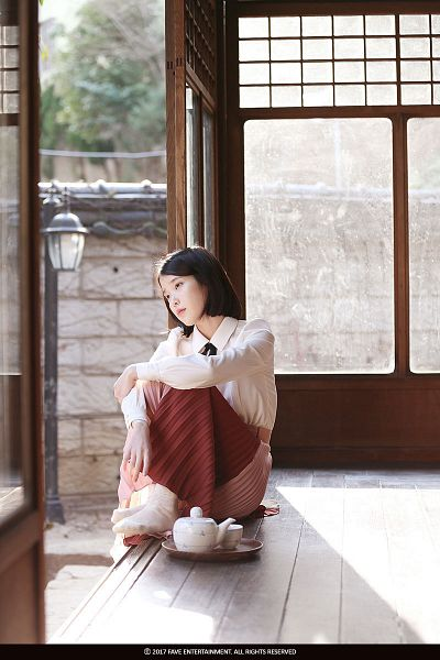 Tags: K-Pop, Through the Night, IU, Tray, Skirt, Shoeless, Window, Teapot, Palette