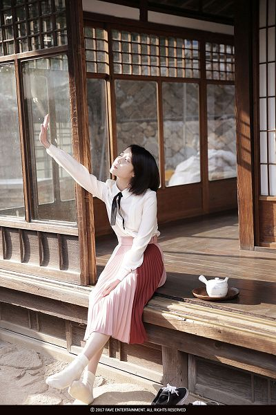 Tags: K-Pop, Through the Night, IU, Short Hair, One Arm Up, Skirt, Looking Ahead, Bent Knees, Looking Up, Sitting, Teapot, Eyes Closed
