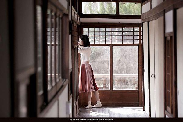 Tags: K-Pop, Through the Night, IU, Standing, Window, Short Hair, Skirt, Full Body, Side View, Palette