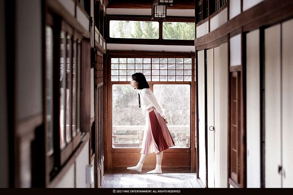 Tags: K-Pop, Through the Night, IU, Skirt, Window, Walking, Arms Behind Back, Side View, Palette