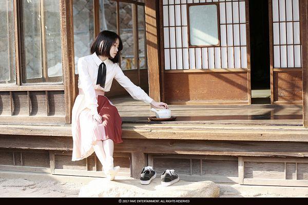 Tags: K-Pop, Through the Night, IU, Window, Short Hair, Skirt, Shoeless, Bent Knees, Door, Full Body, Sitting, Palette