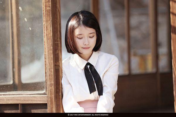 Tags: K-Pop, Through the Night, IU, Window, Skirt, Looking Ahead, Looking Down, Bent Knees, Pink Skirt, Sitting, Short Hair, Palette