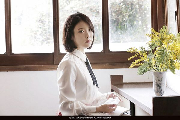 Tags: K-Pop, Through the Night, IU, Bent Knees, Yellow Flower, Sitting, Short Hair, Window, Flower, Palette