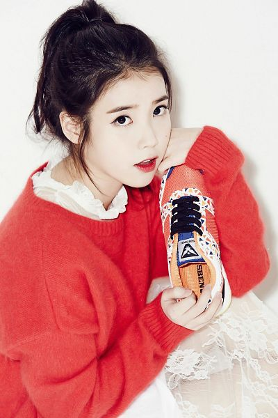 Tags: K-Pop, IU, White Dress, Red Lips, White Outfit, Shoes, Red Shirt, Ponytail, Light Background, White Background, Sweater, Sneakers