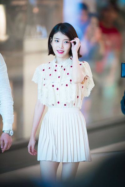 Tags: K-Pop, IU, Earrings, Skirt, Spotted, Standing, Spotted Shirt, Medium Hair, White Skirt, Jewelry