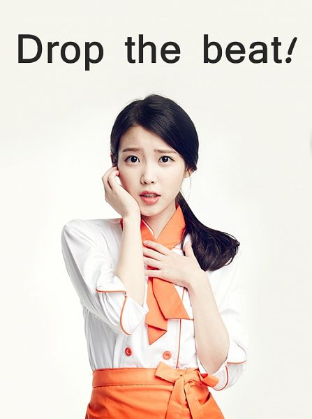 Tags: K-Pop, IU, Simple Background, Light Background, Apron, Hair Up, White Background, Hand On Chest, English Text, Text, Black Eyes, Ponytail