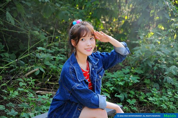 Tags: K-Pop, IU, Blue Outerwear, Ponytail, Looking Ahead, Denim Jacket, Jacket, Blue Jacket, Striped Shirt, Plant, Earrings, Crouching