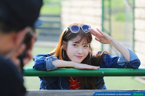 Tags: K-Pop, IU, Jacket, Glasses On Head, Salute, Earrings, Red Shirt, Striped Shirt, Striped, Make Up, Blue Outerwear, Glasses