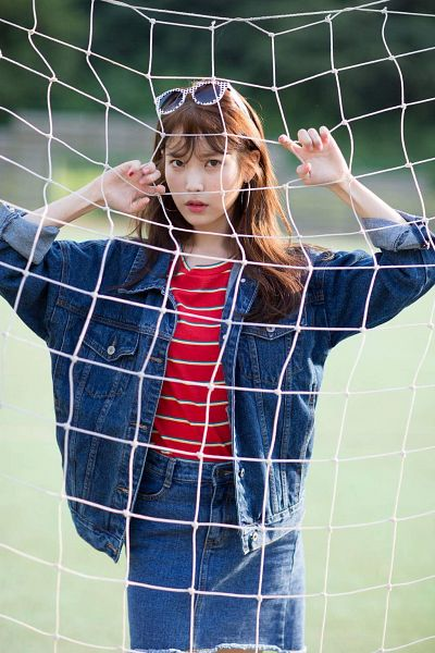 Tags: K-Pop, IU, Denim Skirt, Blue Skirt, Striped Shirt, Denim Jacket, Glasses On Head, Net, Glasses, Frown, Red Shirt, Blue Outerwear
