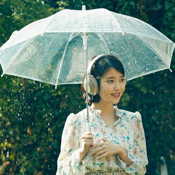 Tags: K-Pop, IU, Headphones, Looking Away, Floral Print, Umbrella, Rain, Tree, Plant, Water, Sony