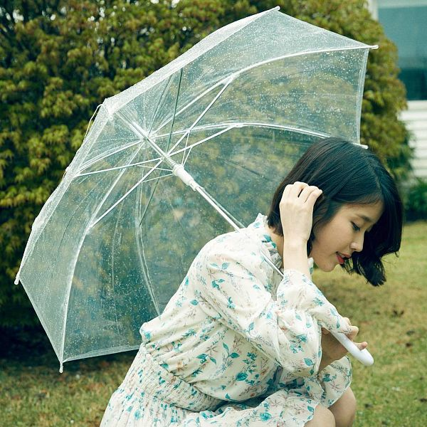 Tags: K-Pop, IU, Crouching, Bent Knees, Grass, Looking Down, Umbrella, Floral Print, Plant, Bush, Sony