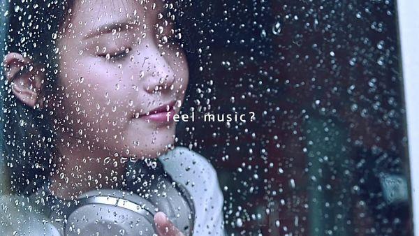 Tags: K-Pop, IU, Medium Hair, Headphones, Eyes Closed, Rain, English Text, Water, Sony