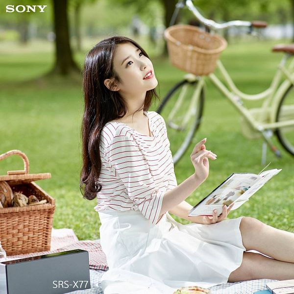 Tags: K-Pop, IU, Plant, Red Lips, Grass, Picnic, Striped, Tree, Bicycle, Skirt, Book, White Skirt