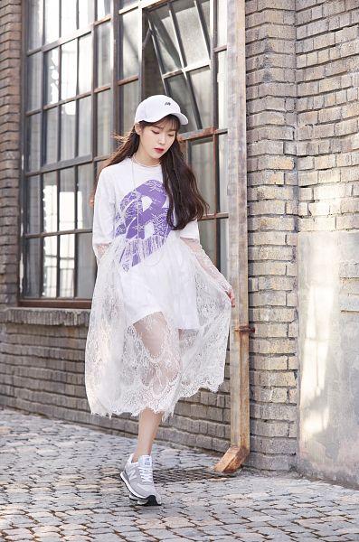 Tags: Loen Entertainment, K-Pop, IU, Window, Looking Down, Walking, Pink Skirt, Hat, Skirt, New Balance