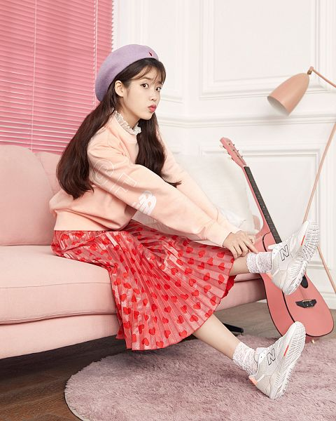 Tags: Loen Entertainment, K-Pop, IU, Sneakers, Socks, Musical Instrument, Red Skirt, Couch, Pink Shirt, Sitting On Couch, Lamp, Hat