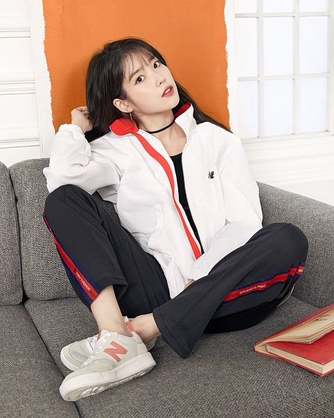 Tags: Loen Entertainment, K-Pop, IU, Sneakers, Choker, Sitting On Couch, Black Pants, Window, Shoes, Jumpsuit, Couch, Serious