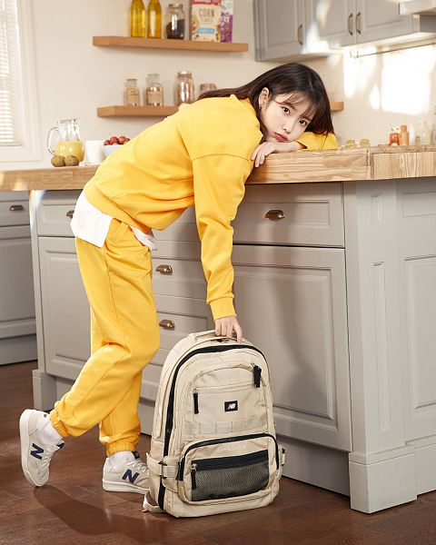 Tags: Loen Entertainment, K-Pop, IU, Bottle, Sneakers, Kitchen, Yellow Shirt, Shoes, Jumpsuit, Red Lips, Backpack, Yellow Pants