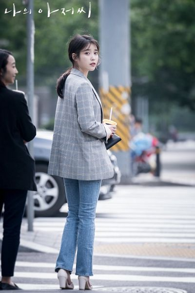 Tags: K-Drama, K-Pop, IU, High Heels, Jacket, Outdoors, Shoes, Blue Pants, Pants, Checkered, Road, Korean Text