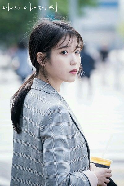 Tags: K-Drama, K-Pop, IU, Ponytail, Checkered, Black Eyes, Jacket, Checkered Jacket, Looking Ahead, Hair Up, Korean Text, My Mister