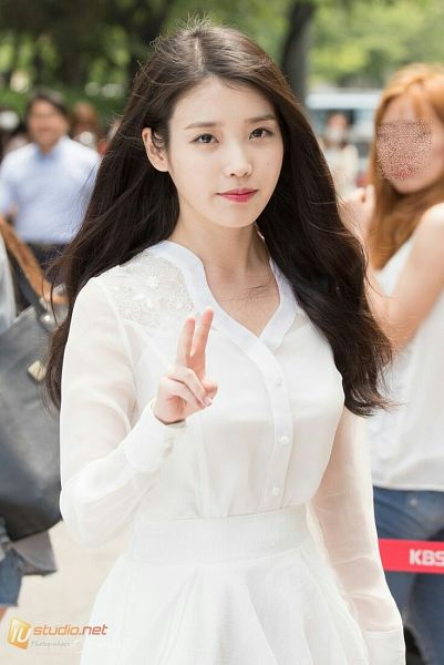 Tags: K-Pop, IU, Closed Mouth, V Gesture, White Outfit, Outdoors, White Dress