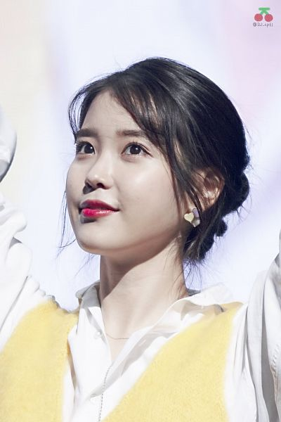 Tags: K-Pop, IU, Arms Up, Yellow Outerwear, Vest, Hair Up, Red Lips, IU cpfl