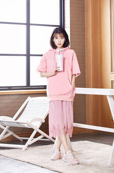 Tags: K-Pop, IU, Medium Hair, Skirt, Pink Shirt, Hood, Chair, Pink Skirt, Hoodie, Hand In Pocket, Sun Lounger, Window