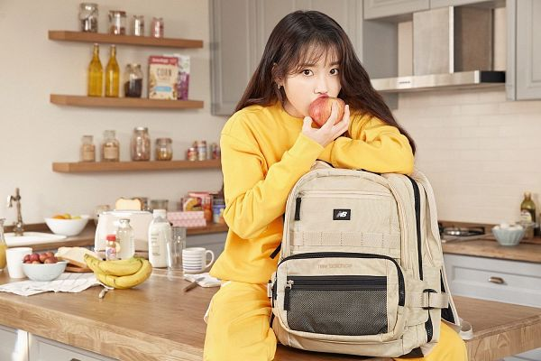 Tags: K-Pop, IU, Jumpsuit, Serious, Fruits, Banana, Apple, Bag, Backpack, Kitchen, Yellow Outfit, New Balance