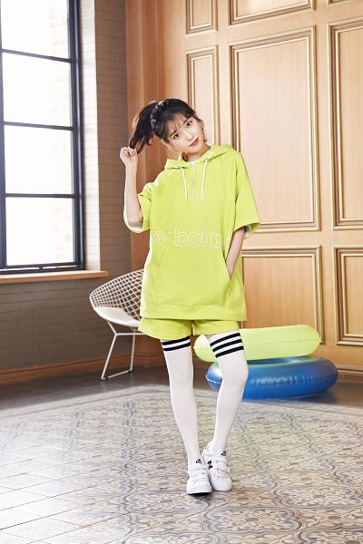 Tags: K-Pop, IU, Hoodie, Chair, Window, Hair Up, Carpet, Ponytail, Flotation Devices, Sneakers, Shoes, Head Tilt