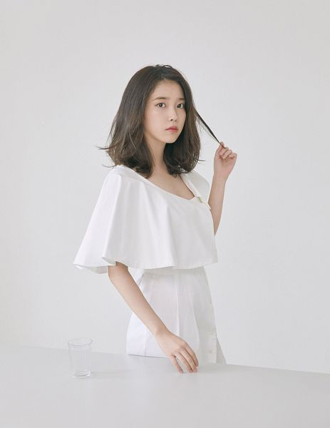 Tags: K-Pop, IU, White Outfit, Light Background, Serious, White Background, White Dress, Magazine Scan, Elle Korea