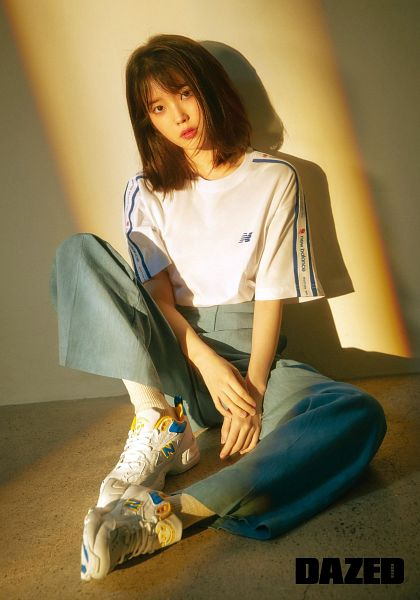 Tags: K-Pop, IU, Leaning On Wall, Wall, Short Sleeves, Shoes, Serious, Sneakers, Shadow, Dazed & Confused Korea, Magazine Scan