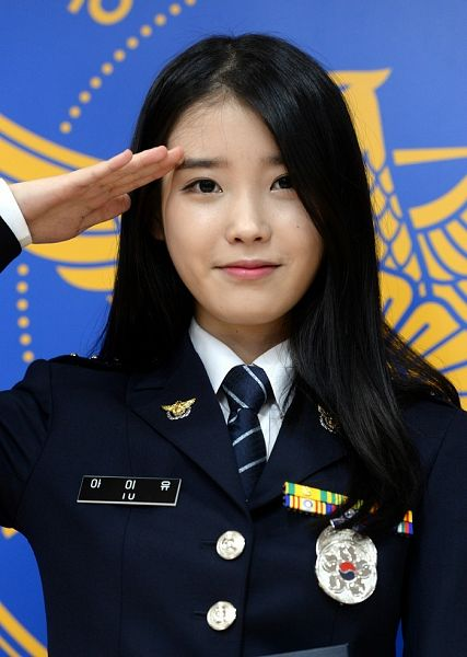 Tags: K-Pop, IU, Uniform, Salute, Tie, Mole, One Arm Up, Facial Mark