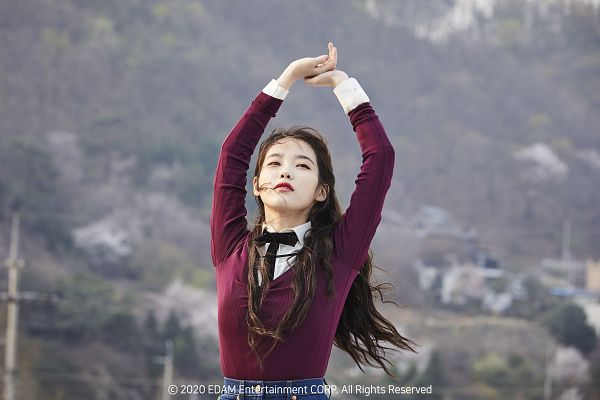 Tags: K-Pop, Eight, IU, Purple Shirt, Arms Up, Wind, Flowing Hair