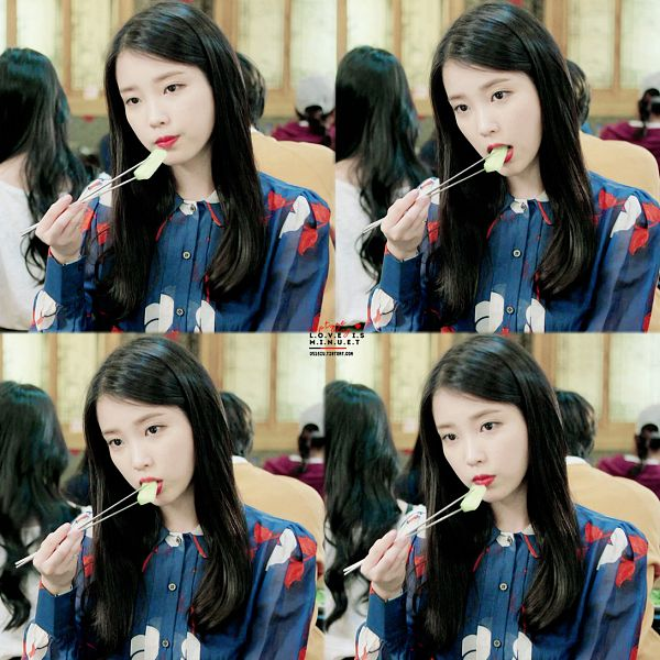 Tags: K-Drama, K-Pop, IU, Stick, Black Eyes, Serious, Chopsticks, Eating, Food, Red Lips, The Producers