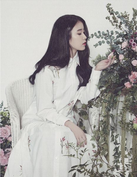 Tags: K-Pop, IU, Sitting On Chair, Eyes Closed, Light Background, Chair, White Background, Flower, Pink Flower, White Dress, Android/iPhone Wallpaper, IU 2015 Calendar